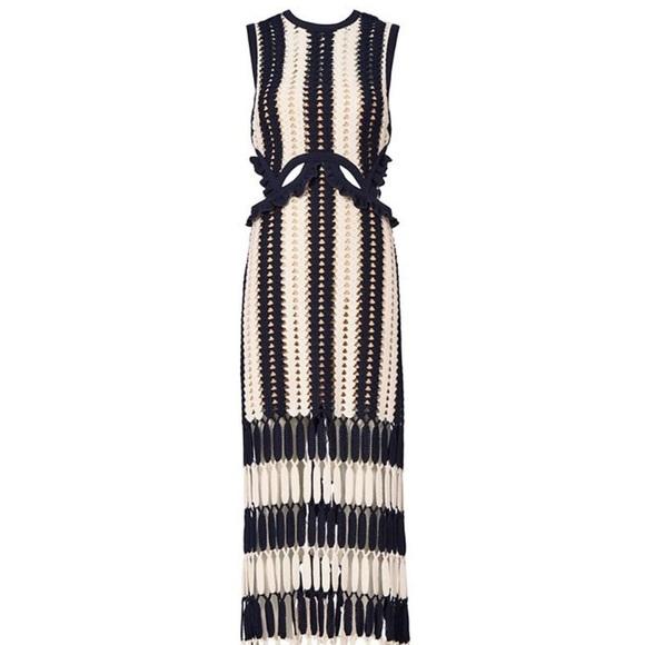 53c8e5c32d199 SELF-PORTRAIT Striped Crochet Midi Dress. M_5b00758f8290af36143e6379